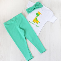 Trendy Girls Clothes. Baby Girl Leggings, Headband and Bodysuit Set. Clothing Sets. Modern Leggings and Headband Set.