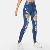 Ripped Faded Wash Button Fly Skinny Pants Trousers Jeans
