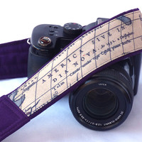 Vintage Map Camera Strap. Dark Purple Camera Strap. Photo camera Accessories. SLR, DSLR Camera Strap. Gift For Photographer. Gift Idea.