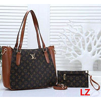 LV Tide brand women's classic old flower checkerboard handbag shopping bag two-piece Brown+LV