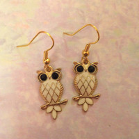 Gold and White Owl Earrings