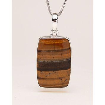 Tiger Eye Pendant Necklace - 24 inch Silver Chain