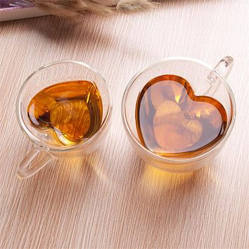 Heart Shaped Double Wall Glass Mug