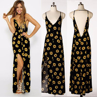 Summer dresses Ladies 2016 Sunflower Print bohemian Women dress V-neck Backless plus size Long Beach maxi Dress vestiti donna
