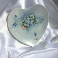 Porcelain Heart Dish Hand-painted in Violets signed by artist