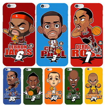 Cute Cartoon Basketball Players Phone Case For capinha iPhone  6 6s James Kobe Bryant Stephen Curry PC Slim Case Accessories