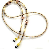 Fancy Tan Beaded Glasses Lanyard
