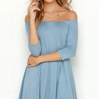 Rock the Bateau Light Blue Off-the-Shoulder Dress