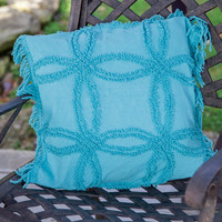 """Manual Woodworkers Turquoise Tufted Cotton Pillow 18x18"""" with 6-Pack of Tea Candles"""