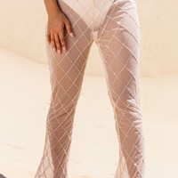 Nude Beaded Grid Beach Flares