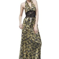Beautifly Women's Gold Polka-dot Halter Sequins Lace Waist Evening Dress