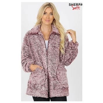 Heavenly High Collar ZIP Up Burgundy Pepper Sherpa Jacket