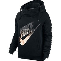 Nike Rally Metallic Funnel Neck Pullover Hoodie Swoosh Metal 684135 Engineered