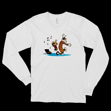Calvin and Hobbes Dancing with Record Player Long Sleeve Shirt