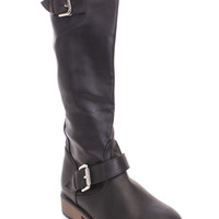 Black Studded Mid Calf Boots Faux Leather