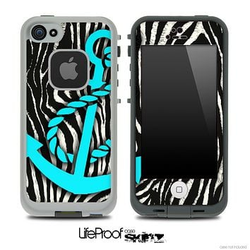Real Zebra Turquoise Anchor Skin for the iPhone 5 or 4/4s LifeProof Case