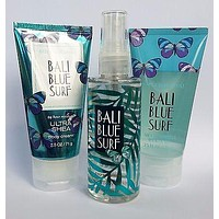 Bath & Body Works BALI BLUE SURF Travel Trio Shower Gel Mist Cream 2.5 oz