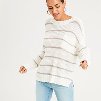 AE Stripe Pocket Crew Neck Sweater, Oatmeal