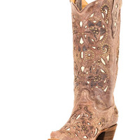 Corral Women's Brown Crater Bone Inlay & Studs Boot - A1098