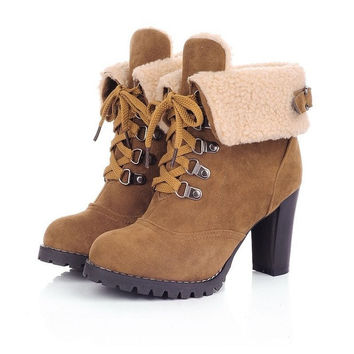 Fashion Women Ankle Boots High Heels Lace Up Platform Snow Boots = 1946227908