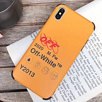 Off White New fashion letter print protective cover phone case Yellow