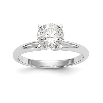 Natural Diamond Knife Edge Style Four Prong Solitaire Engagement Ring in 14K White Gold