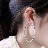 LNRRABC  Women  Exaggerated Small Big Circle Silver Round Earrings Party Gold Color Hoop Earring Fashion Fashion Jewelry Gift