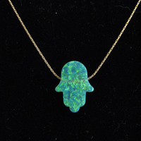 Green Opal Hamsa Hand Pendant Necklace on Gold fill chain