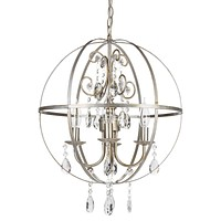 4 Light Contemporary Crystal Orb Plug-In Chandelier (Silver)