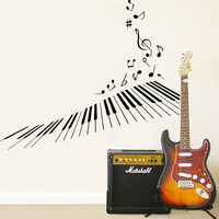 Wall Decal Vinyl Sticker Decals Art Decor Design Piano Keys Notes Singer Instruments Music Band Love Music Guitar Gift Bedroom Dorm (r383)