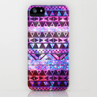 Girly Andes Aztec Pattern Pink Teal Nebula Galaxy iPhone Case by Girly Trend | Society6