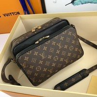 Kuyou Gb229916 Lv Louis Vuitton M40178 54418 Monogram Double Zipper Crossbody Bag Black Messenger Bag In Leather 26-19-12cm
