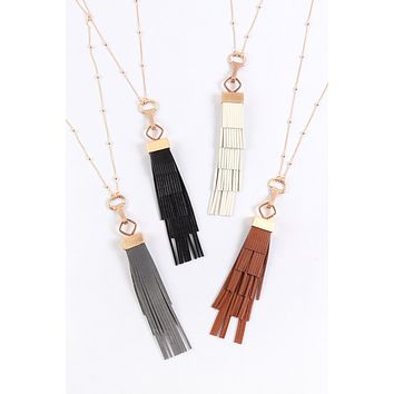 MYN1319 - LAYERED LEATHER TASSEL NECKLACE