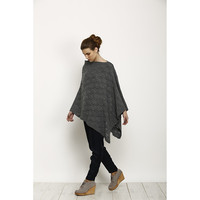 knitted poncho, Black