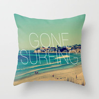 Gone Surfing Vintage California Beach Throw Pillow by RexLambo | Society6