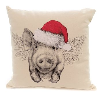 Christmas SANTA FLYING PIG PILLOW Fabric Throw Home Decor Mpsantapig