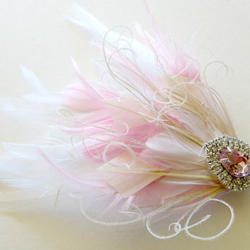 Wedding Hair Accessories, Feather Fascinator, Bridal Hairpiece, Peacock, PInk, White, 1920s Hair Accessories