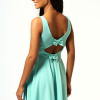 Collette Open Back With Bow Detail Skater Dress