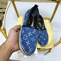 LV simple new denim canvas jacquard alphabet female fisherman shoes