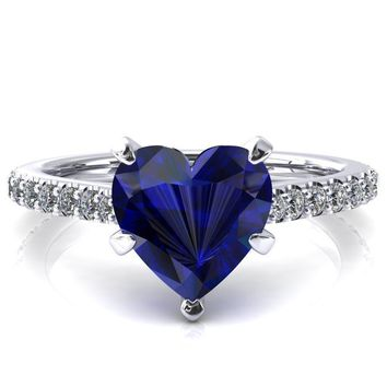Kelsy Heart Blue Sapphire 5 Prong 3/4 Shared Scalloped Inverted Cathedral Ring