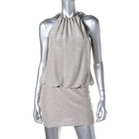 Laundry by Shelli Segal Womens Metallic Silk Cocktail Dress