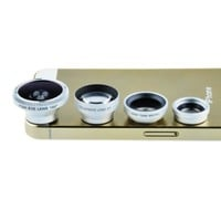 Shopping_Shop2000 Magnetic Detachable Fish Eye Lens 2x Telephoto Lens Wide Angle + Macro Lens 4 in 1 Camera Lens Kits Designed for iphone 5 5C 5S 4S 4 3GS ipad mini ipad 4 3 2 Samsung Galaxy S5 S4 S3 S2 Note 3 2 1 Sony Xperia L36h L36i HTC ONE Motorola Sma