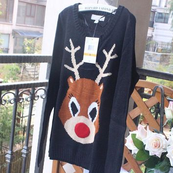 2017 Ugly Christmas Jumpers for women Knitted Xmas Party Reindeer Pullover Sweaters