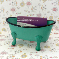 Mini Claw Foot Tub Business Card Cell Phone Holder Shabby Chic Chippy Aqua Distressed