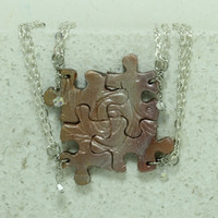 Friendship Necklaces Set of 4 Polymer Clay with Crystals Metallic Mix
