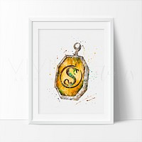Horcrux Locket, Harry Potter Watercolor Art Print