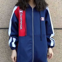 Champion New Style Women Men Contrast Color Embroidery Logo Zipper Jacket Couple Coat