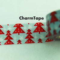 Red Christmas Trees on Blue Washi Paper Masking Tape WT99