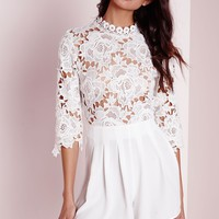 Missguided - High Neck Crochet Playsuit White