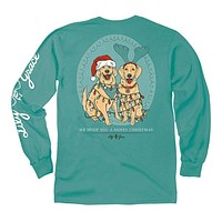 Christmas Lights Dogs Long Sleeve Tee in Seafoam by Lily Grace